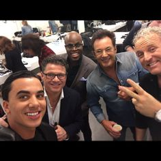 """From Facebook Timor Steffens (March 12 2016) Tonight """"alles mag op Zaterdag"""" (everything allowed on saturday), From left: Timor, Wolter Kroes, Jandino Asporaat, Gerard Joling and Gordon Heuckeroth."""