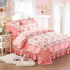 Queen Size Bed Shabby Princess Floral Chic Pink Duvet Quilt Cover Set New A984 | eBay