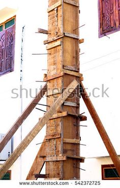 Wooden Column Box Braced by Wooden Back stays, House Construction Site, Laos