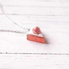 Handmade Cute Pink Cake Necklace Polymer Clay Miniature Jewelry