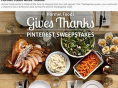 Enter the HORMEL Foods Give Thanks Pinterest Sweepstakes for a chance to win a $300 VISA Gift Card and serving platters, utensils, and cups!