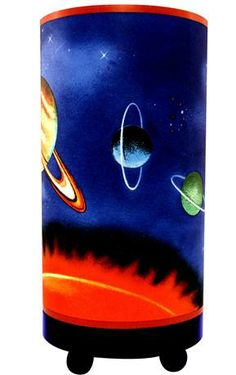 A colorful space themed accent lamp, perfect for a kid's room. Style # at Lamps Plus. Outer Space Bedroom, Outer Space Theme, Bedroom Lamps, Bedroom Themes, Bedrooms, Solar System Room, Boys Room Design, Kids Room, Table Lamp