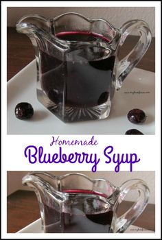 Homemade Blueberry Syrup is easy and so delicious and takes only 3 ingredients to make. (Make with monk fruit instead of sugar) www. Blueberry Syrup, Blueberry Recipes, Blueberry Pancakes, Homemade Syrup, Homemade Sauce, Food Storage, Scones, Vinaigrette, Crockpot