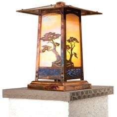 Cobblestone Series Column Mount with Monterey Cypress Filigree, Old Penny Finish and Gold Iridescent Glass.