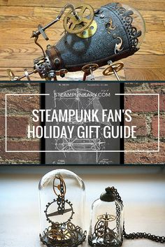 Steampunkary has put together this list of steampunk gifts from individual artists on Etsy. Each item is handmade by an artist in the steampunk style, perfect for your holiday shopping list.