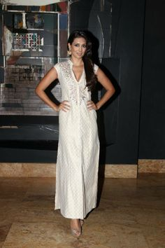 Preeti Desai in an elegant cotton jacquard column gown with intricate gotapatti embroidery along the neckline. Available online -http://shop.anitadongre.com/gown-13389.html