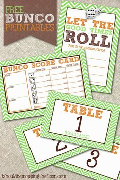 Free Bunco Printables ~ Invite your friends over for a Bunco Party. Included are an invitation, score cards and tented table numbers. Bunco Themes, Bunco Ideas, Party Ideas, Game Ideas, Potluck Ideas, Event Ideas, Craft Ideas, Bunco Score Sheets, Bunco Game