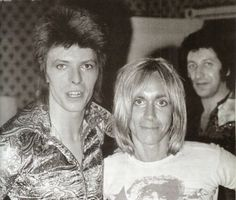 David Bowie and Iggy Pop with Tony Defries lurking in the background circa 1972
