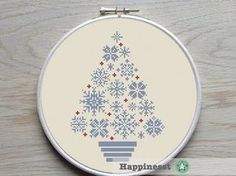 cross stitch christmas tree snowflakes, blue/grey and red, modern cross stitch, PDF, ** instant download**