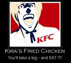 Only you don't know whether this is a leg of chicken, or a leg of death note-murdered human. (And Death Note fans all over the world never ate KFC again. Death Note Funny, Death Note デスノート, Shinigami, Otaku, Anime Meme, Blue Exorcist, Death Note Anime, Amane Misa, Full Metal Alchemist