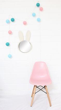 diy wooden bunny mirror