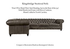 The Kingsbridge Sectional Chaise by Casco Bay Furniture - A Tufted Leather Furniture Special, The Kingsbridge features a tufted back and arms with a tufted front panel. The Kingsbridge features optional Down blend with Ultracel cushion cores. Tufted Sofa, Sectional Sofa, Couch, Leather Furniture, Leather Sofa, Leather Sectionals, Casco Bay, Arms, Cushions