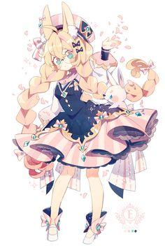 さくら色のスカート Manga Kawaii, Kawaii Art, Kawaii Anime Girl, Anime Art Girl, Manga Art, Kawaii Drawings, Cute Drawings, Cute Anime Character, Character Art