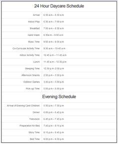 24 Hour Daycare Schedule http://www.24hourdaycarecentral.com/