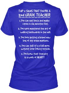 Signs Youre A 2nd Grade Teacher Tee