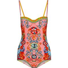 Dolce & GabbanaPrinted Swimsuit ($239) ❤ liked on Polyvore featuring swimwear, one-piece swimsuits, swimsuit, bikini, body, dolce & gabbana, pink, one piece swimsuit, swimsuits bikinis and underwire one piece swimsuit