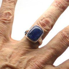 Ring Kyanite Oblong Cabochon   925 Sterling Silver   Crystal Heart Melbourne Australia since 1986