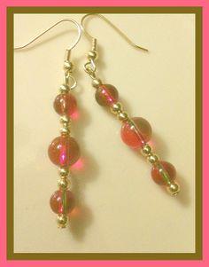 Lollipop Pink Czech Glass Beaded Earrings by ForHerEarsOnly, $8.50