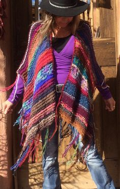 Knitting Patterns Women Hip Length Knitted Womens Bohemian Festival Hippie by poshbygosh Hippie Crochet, Knit Or Crochet, Crochet Shawl, Knitted Poncho, Knitted Shawls, Hippie Style, Bohemian Style, Shawls And Wraps, Crochet Clothes