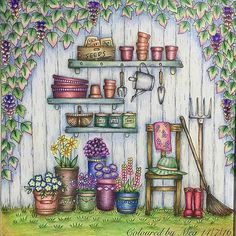 Lindo de viver!!!! @Regrann from @megchelsea_how - #Prismacolors #romanticcountrycoloringbook #romanticcountry美しい城が佇む国cocotのファンタジー塗り絵ブック #eriy #adultcoloringbook #colouringbook #prismacolor #artecomoterapia #colorir #Regrann