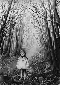 Laurie Lipton, pencil, drawing, Stranger in the Woods