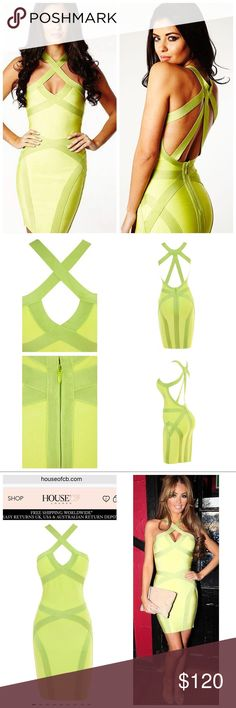 """House of CB """"Chloe"""" Dress Worn one time. Green dress. Bold & gorgeous 'Chloe' Lime Green Low Back Bandage Dress. Strappy low back cut combined with the uber flattering band details. Made from luxury bandage fabric that holds you in and smooths you out. Wear with nude heels for a statement look.Length: Approx 80cmVery stretchySpecialist/Gentle Dry Clean OnlyModel is 5 ft 6 and wears size XS Item runs true to size chart and is cut to suit the size chart pictured! House of CB Dresses"""