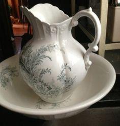 Vintage Ceramic Shabby Cottage Chic Transferware Basin Bowl and Pitcher | eBay