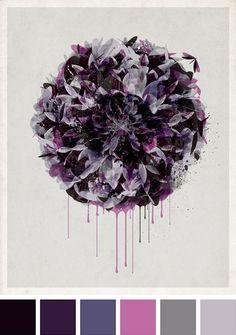 aubergine och mörkt lila - fint!