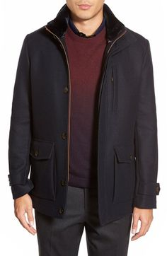 Ted Baker London 'Bartley' Faux Fur Collar Zip Front Jacket available at #Nordstrom