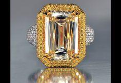 A Crisscut fancy yellow diamond ring by Lili Jewelry.
