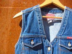 vintage grunge denim vest button front size small by NashtyVintage, $24.99