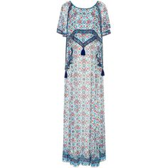 Talitha Maharaja Print Bela Dress (€1.120) ❤ liked on Polyvore featuring dresses, blue, blue pattern dress, low cut back dress, low back dress, tassel dress and blue overlay dress