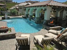 Take your backyard to a new level of luxury with an outdoor kitchen, swim-up bar or to-die-for pergola.
