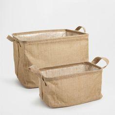 FOLD-UP JUTE BASKET ZARA HOME - for laundry