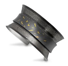 "Anne Bulmer Brewer Studio,  ""Leaves Floating over Stone Walk"" Anticlastic Cuff  Fine Silver, 22K Gold, Fine Silver/Copper Bimetal  Keum Boo, Photo Etching, Anticlastic Forming, Forging, Cold Connection, Patina"