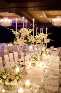 Beautiful ballroom wedding ~ luxurious creamy whites with just a smidge of greenery ~ really beautiful!