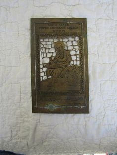 Antique Brass Wall Plate From Boston Church