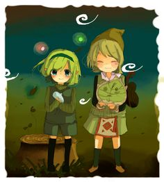 Ocarina of Time's Saria and Wind Waker's Fado and Makar - The Legend of Zelda; fan art 森に住む賢者 - だしゅこ