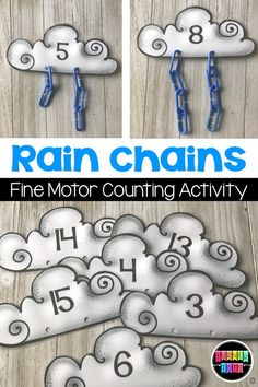 Rains Chains Counting Activity Add Blue Chain Links To The Clouds For A Fun Fine Motor Math Activity Or Center. Weather Activities Preschool, Spring Activities, Preschool Lessons, Preschool Classroom, Science Activities, Preschool Activities, Science Education, Science Experiments, Montessori Preschool