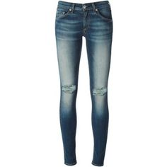 Rag & Bone /Jean Skinny Jeans With Distressed Effects