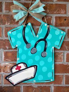 This scrub top and nurse hat is perfect for healthcare workers # Burlap Door Hangers, Custom Door Hangers, Wooden Hangers, Wooden Door Signs, Hospital Door Hangers, Classic Doors, Nurse Hat, Front Door Decor, Front Doors