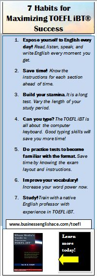 7 Habits for Maximizing TOEFL iBT Success - Repinned by Chesapeake College Adult Ed. We offer free classes on the Eastern Shore of MD to help you earn your GED - H.S. Diploma or Learn English (ESL) . For GED classes contact Danielle Thomas 410-829-6043 dthomas@chesapeake.edu For ESL classes contact Karen Luceti - 410-443-1163 Kluceti@chesapeake.edu . www.chesapeake.edu