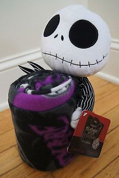 Nightmare Before Christmas Jack Skellington Plush Toy Pillow & Throw Blanket Set: