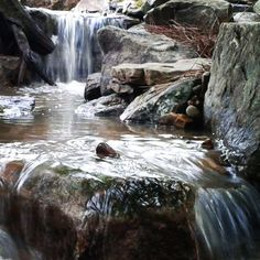 A waterfall & stream flow . Pond Landscaping, Ponds Backyard, Landscaping With Rocks, Koi Ponds, Home Garden Design, Home And Garden, Best Rock, Water Features, Beautiful Landscapes