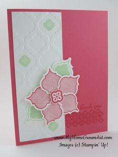 """Stamps: Mosaic Madness, and Express Yourself  Paper: Strawberry Slush card stock  - 5 1/2"""" x 8 1/2"""" Whisper White card stock  - 2"""" x 5 1/4"""", plus extra for the flower Ink: Strawberry Slush  Pistachio Pudding  Tools and Accessories: Big Shot Die Cutting Machine  Modern Mosaic embossing folder Mosaic punch  Stamp-a-ma-jig  Stampin' Dimensionals"""