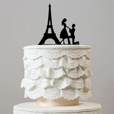 Romantic Proposing Wedding Cake Topper (Engagement /Paris Eiffel Tower /Marriage Proposal)