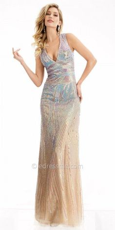 The Iridescent Keyhole Column Prom Dress by Jasz Couture is destined to have a grand entrance! This stunning style features a classic V-shape neckline and a sexy keyhole open back. This style includes a column silhouette that is adorned with iridescent sequins and gold beading for that extra pop. This style is sure to make a statement at any next event you may have. #edressme