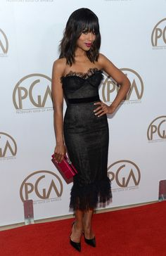 @roressclothes clothing ideas #women fashion Kerry Washington: Black Corset Dress with Delicate Fluttering Lace by Marchesa