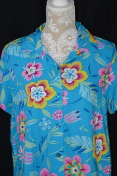 4e9a7497ca52 Style Studio Womens Medium Blue Hawaiian Tropical Button Down Short Sleeve  Shirt #StyleStudio #ButtonDownShirt
