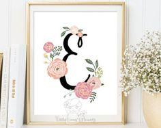 Flower letters monogram nursery print Floral by ButterflyWhisper
